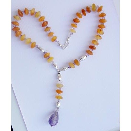 925 Sterling Silver Necklace 18''Yellow Aventurine,Amethyst jewelry-344