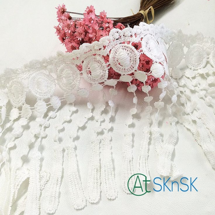Latest arrival 2016 New 500 Yard/ lot 10cm Polyester Off White Lamp Dangling Fringe Lace Trims For Sewing Craft DHL shippig #Affiliate
