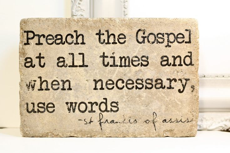 Preach the Gospel at all times - St Francis- Rustic Tumbled Stone (concrete paver). Garden Decor Mantle Display by blessingandlight on Etsy