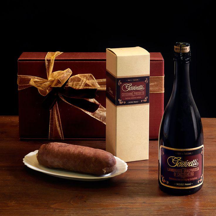 "To say thank you or to confer Season's Greetings with the candour of traditional products. - ""Gazzetti"" Lambrusco Grasparossa Castelvetro wine - Preboiled Cotechino ""Regnani"" kg. 0.5  #gazzettifood #gazzetti #italianfood #christmas"