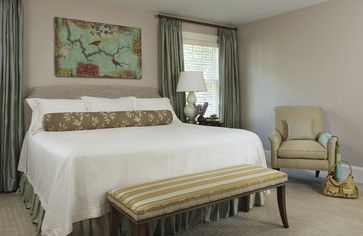 Master Bedroom - paint color, art and draperies idea