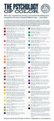 The Psychology of Color - This would be great to display.  It could help you decide on the right colors to use