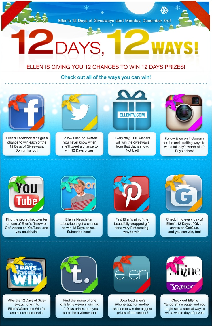 There are so many ways to win the 12 Days of Giveaways! Check it out! I hope you win.