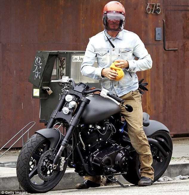 Beckham and his F131 Hellcat Combat motorcycle... cool as funk!