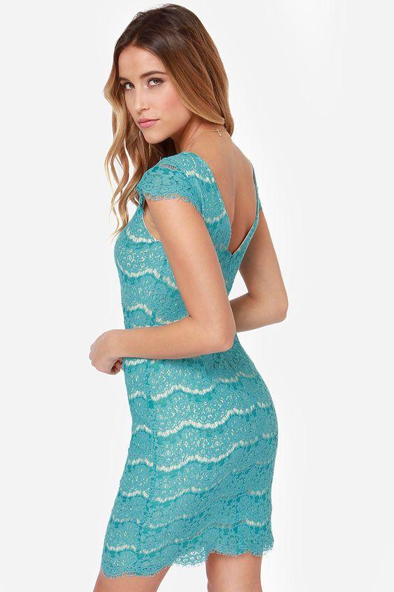 Darling Marissa Turquoise Lace Dress at LuLus.com!