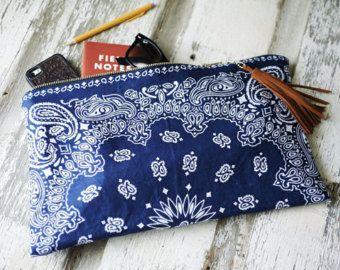 Bandana Tote Bag w/ natural leather straps by TheFamilyTradingCo