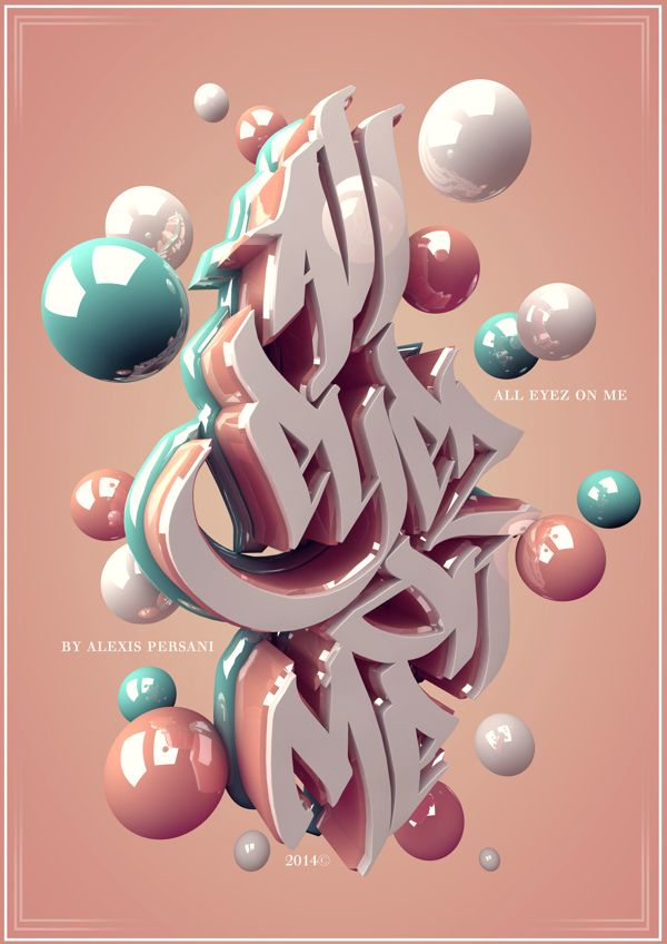 /// 3D typo /// by Alexis Persani, via Behance. Love the typography. #C4D, #Cinema4d