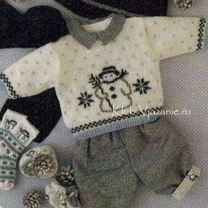 Вязаный пуловер для новорожденного