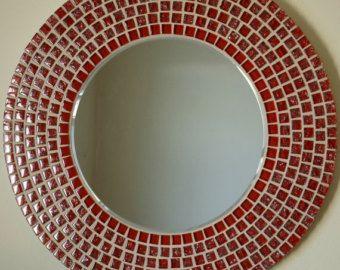 Beautiful Handmade Mosaic Mirror Bevelled Edge white ceramic