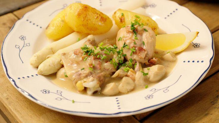 Stoofpot van kip met asperges en gebakken aardappelen | Dagelijkse kost