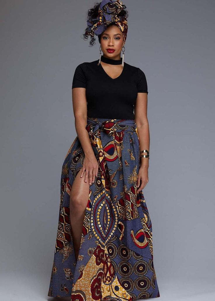Cyrah African Print Maxi Skirt with Sash (Yellow/Blue Multipattern) – my dress