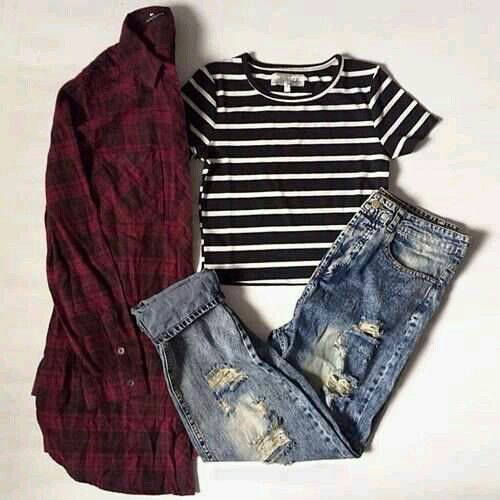 Fitted black and white striped crop top, ripped boyfriend jeans, red and black flannel ❤