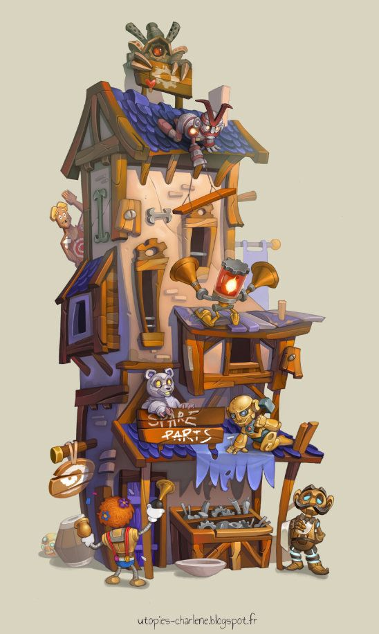 Spare Parts Store, Charlène Le Scanff (AKA Catell-Ruz) on ArtStation at https://www.artstation.com/artwork/spare-parts-store