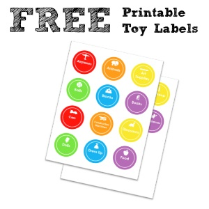 Free printable toy labels. Just print, cut and attach them to your child's toy bins. Viola! Your play room will be organized in no time.