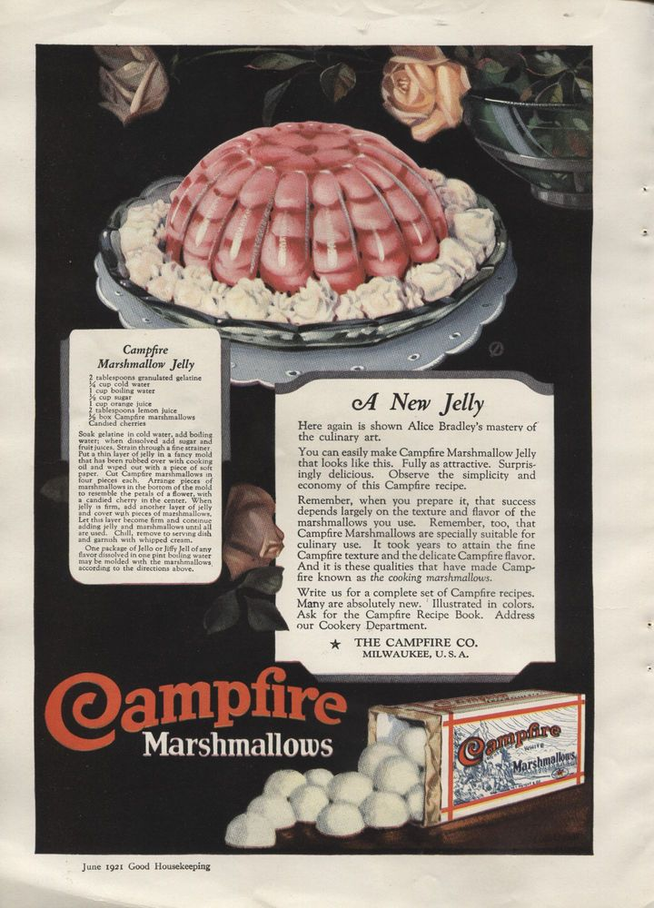 1921 Vintage Campfire Marshmallows Snowdrift Ad from Good Housekeeping -Ephemera. One side is an ad for Campfire Marshmallows and the other side is an ad for the Snowdrift Pure Rich Creamy Vegetable Fat.