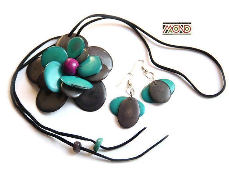 Turkusowo - szary kwiat z tagua (009)