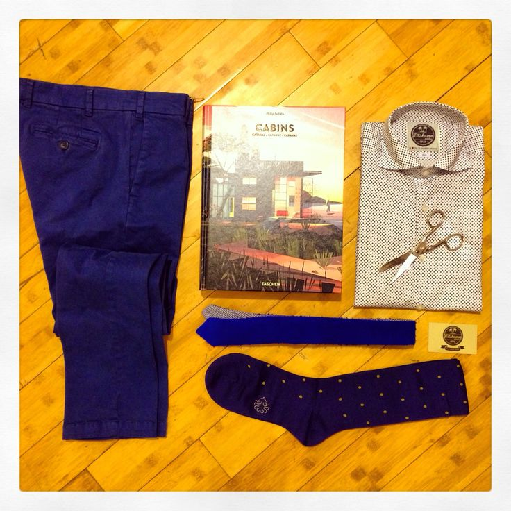 Stone washed Royal pants + cotton polka dots socks + casentino wool double face tie + blue micro flowers on white poppeline shirt