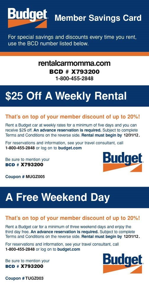 Discount coupons for budget car rental