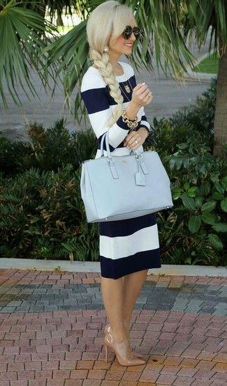 Vestido rayas azul y blanco zapatos