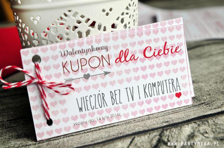 Kupony na Walentynki do druku - partymika