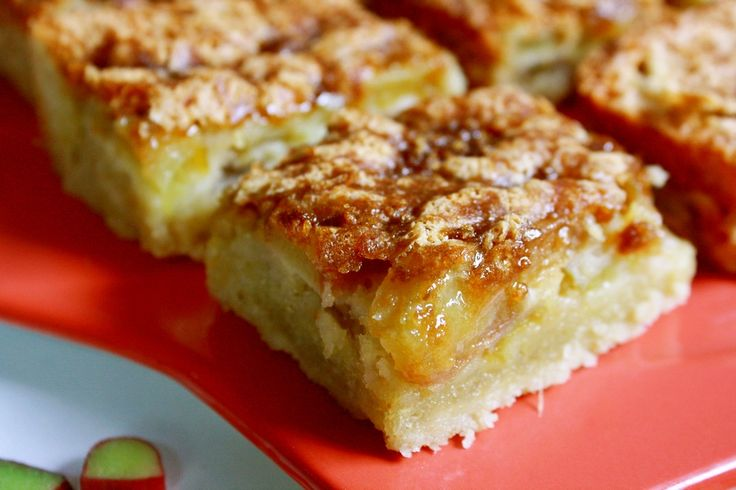 Recipes Cookie Crusted Rhubarb Bars, Here is a great lightened rhubarb bars with a yummy cookie crust. It goes together quickly intervening and does not last long at my house.