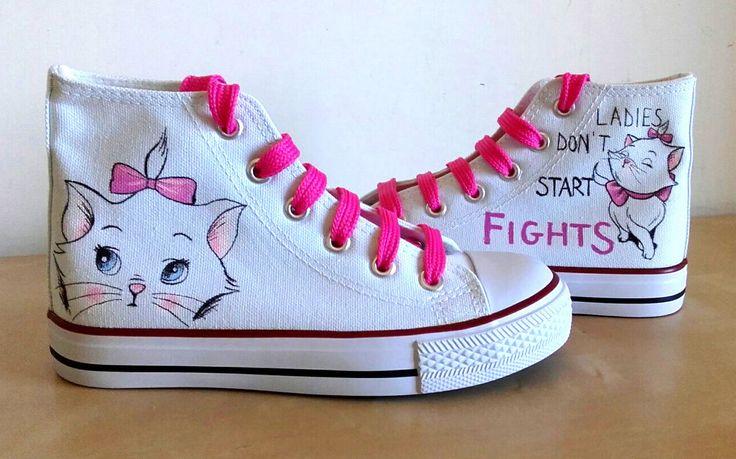 scarpe tela dipinte a mano di PaintedShoesCreation su Etsy