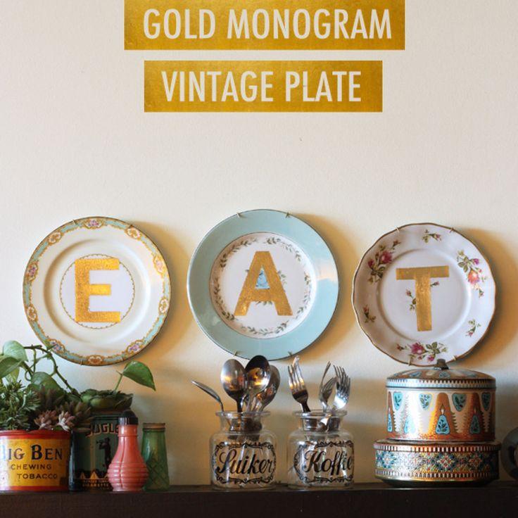 Gold Monogram Vintage Plates