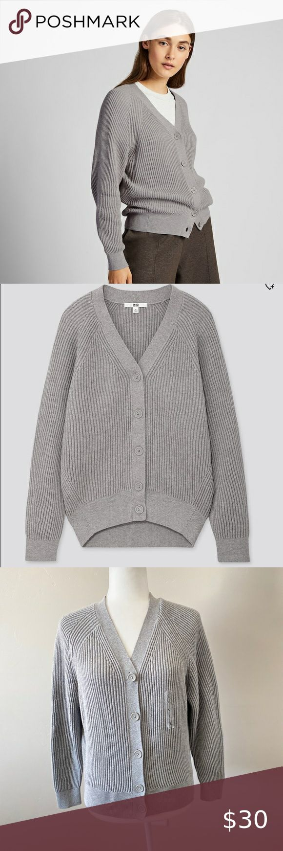 New UNIQLO COTTON CASHMERE RIBBED RELAXED CARDIGAN in 2020