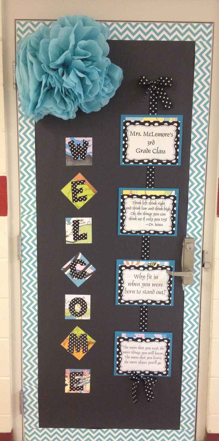 Dr. Seuss Chevron Quotes Classroom Door with CTP's NEW Turquoise Chevron Border. Such a cute chevron classroom idea! #chevrondoor #chevronideas
