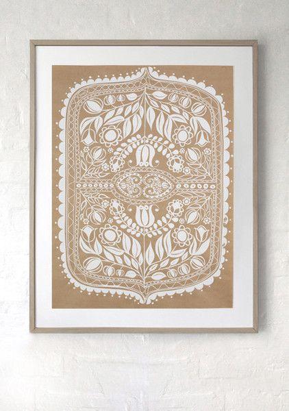 SILK SCREEN ART  PRINT/ White print on recycled kraft paper. Hand silk screen printed Polish folk art inspired design, ready to frame.