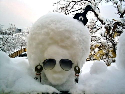 Sunglass Snowman!: Snow Afro, Snow Sculpture, Beautiful, Art, Snow Fro, Natural Hair, Naturalhair, Snowfro, Black
