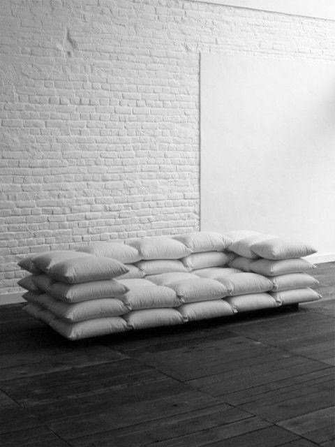 Lo-Fi Sofa: Pillows Fight, Living Rooms, Pillows Couch, Pillows Talk, Sectional Sofa, Design, White Wall, Dorm Idea, Pillows Sofa