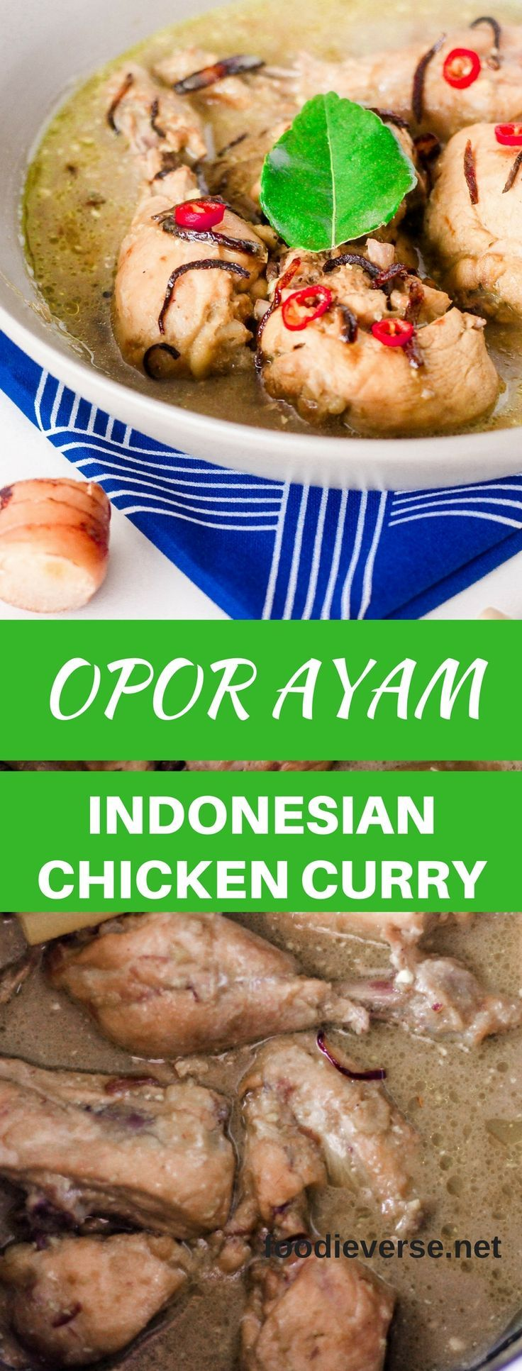 Opor Ayam is an Indonesian Chicken Curry from Java. Chicken is braised in coconut milk with a fragrant spice curry paste consisting of galangal, ginger, shallots and spices. Flavours are enhanced with lemongrass and kaffir lime leaves. This curry is very popular during Eid (Aidul Fitri), Eid marking end of Ramadan.