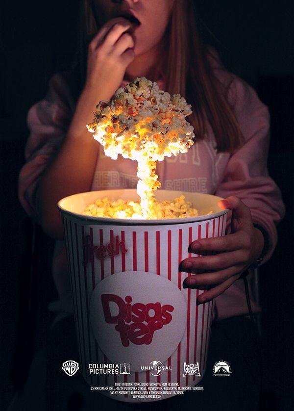 Posters For Disaster Film Festival - Advertising - Poster, Cinema, Film, Movie, Popcorn, Explosion, Photo manipulation