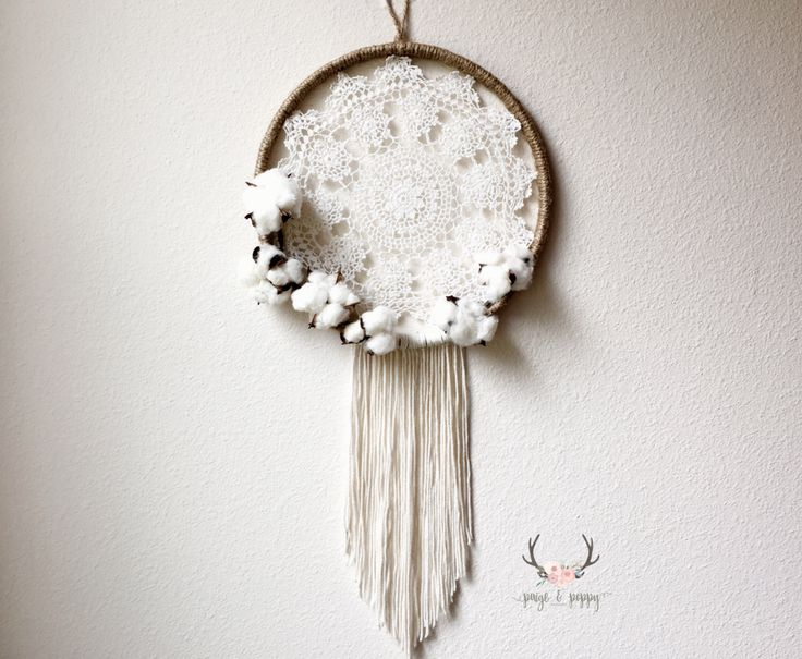 Baby Mobile - Dream Catcher Mobile Wall Decor - Large Doily Dream Catcher Cotton Wreath - Farmhouse Nursery Decor - Rustic Cotton Decor by PaigeAndPoppy on Etsy https://www.etsy.com/listing/497966776/baby-mobile-dream-catcher-mobile-wall