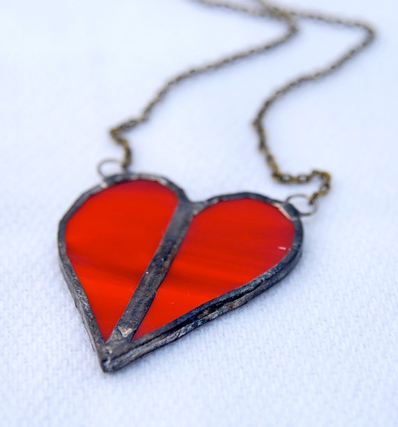 Red Heart Pendant by 2glassygirls on Etsy, $22.00