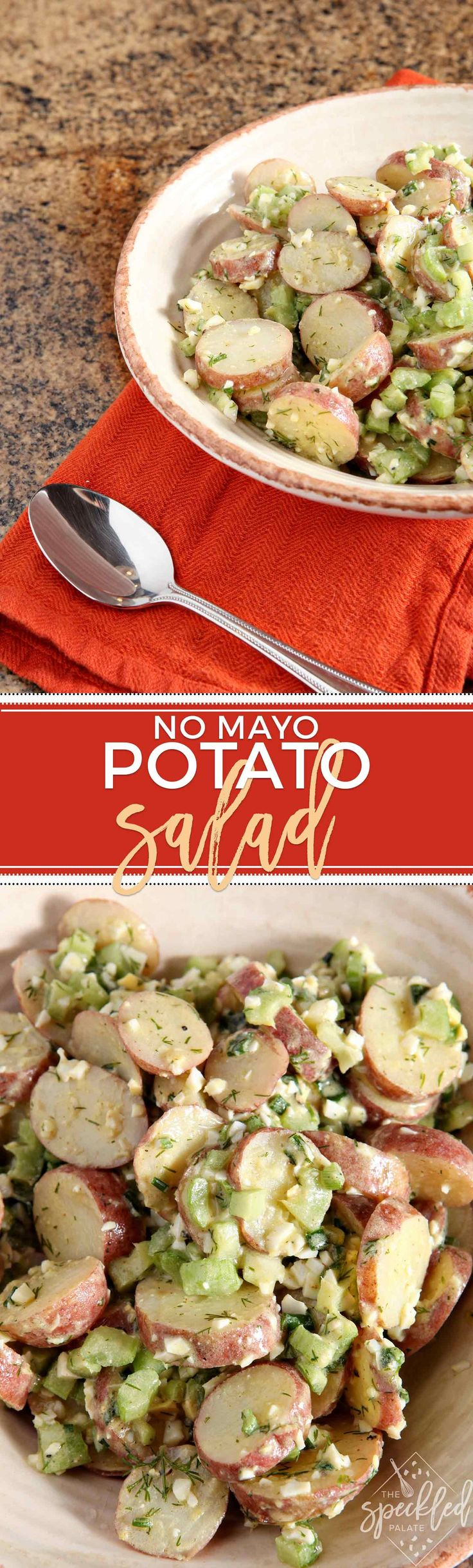 No Mayo Potato Salad is a lighter rendition of the classic. Serve at any cookout this summer and expect compliments on this surprisingly creamy side dish.