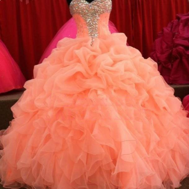 Weihnachten Quinceanera Kleider Blumen Schatz Ballkleid Royal Organza Plissee Süß Korallen Prom Kleid Kleider ZY3517 //Price: $US $142.80 & FREE Shipping //     #clknetwork