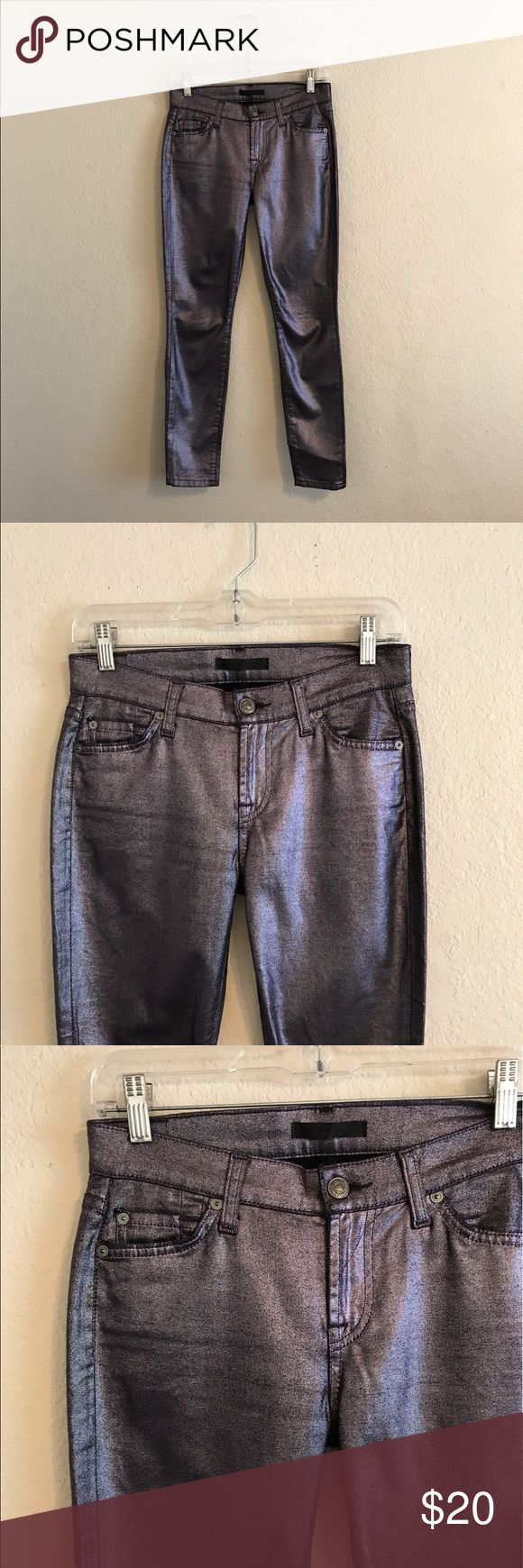 """7 For All Mankind women's Metallic Skinny Jeans 25 7 For All Mankind women's Skinny Crop Jeans.  Size: 25.  In Great condition!  Inseam: 27"""".  If you have any questions feel free to ask ! 7 For All Mankind Jeans Skinny"""