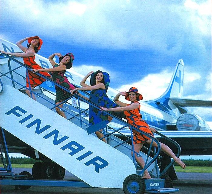 Vintage Finnair cabin crew photo-- marimekko like.