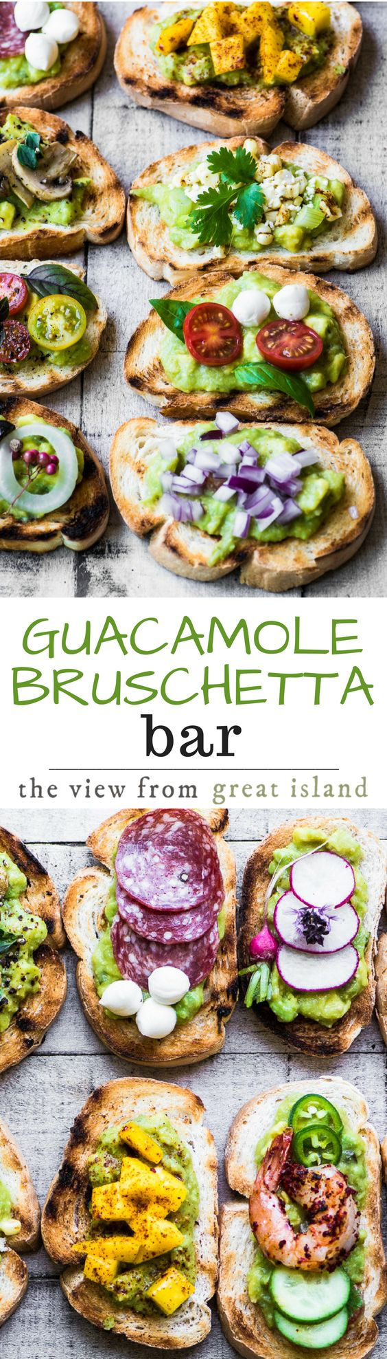 Guacamole Bruschetta Bar ~ admit it, you've always wanted to eat avocado toast for dinner, and this meal is healthy and lots of fun! | appetizer | main course | avocados | 30 minute meal | grilling | summer | #ad