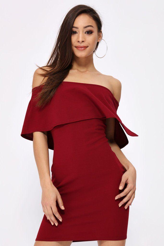 4fc2af893f51 Wine Off The Shoulder Bodycon Dress