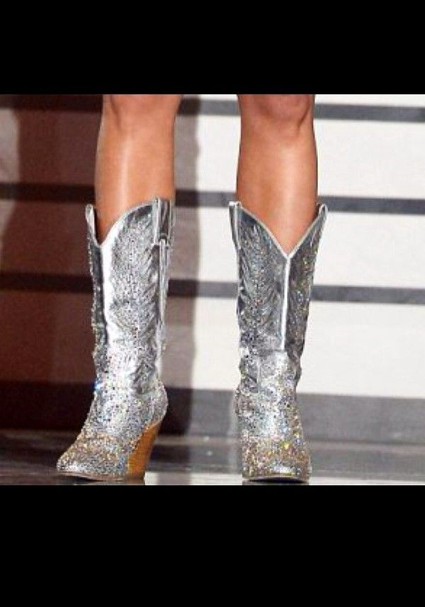 Shoes: silver cowboy boots miranda lambert rhinestones country country style glitter glitter texas