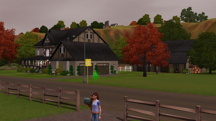 LizC864 Sims: Me just starting off in Appaloosa Plains. My goal is to start with nothing & save up $147,478 to buy Wild Stallion Ranch which is the house across the street from me in the pic