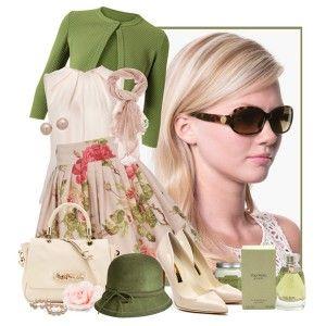 Кремовые туфли, бежевая блузка, цветастая юбка. зеленая кофта, кремовая сумка