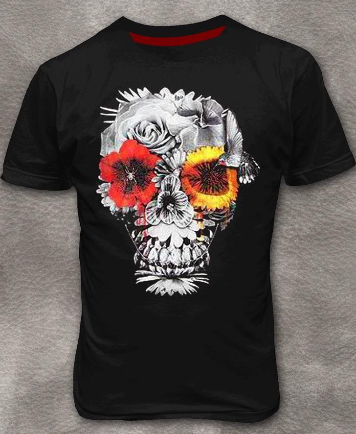 T-shirt With Floral Skull Print Round Neck Graphic Tee Size S - 3XL Get Yours Now: http://bit.ly/1D9NwZj