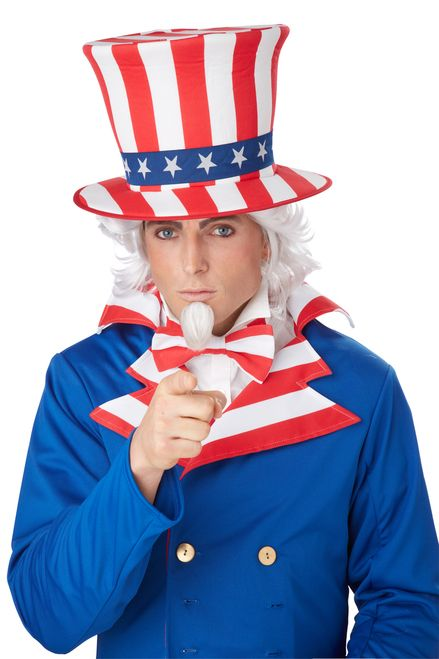 """""""I want you!"""" - Wig and goatee set makes an excellent addition to your United States personification costume. Wig fits most adults and goatee includes adhesive strip. Works for school plays or an aged look. #yyc #calgary #costume #UncleSam #USA"""