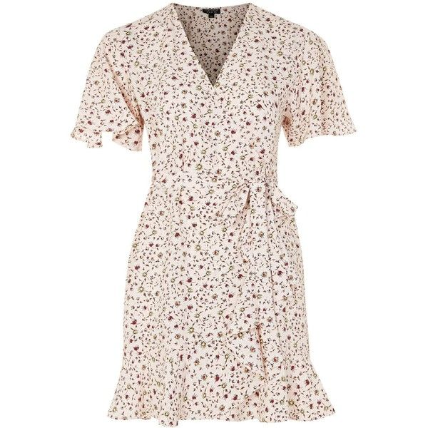 TopShop Daisy Print Ruffle Tea Dress (£23) ❤ liked on Polyvore featuring dresses, nude, tea party dresses, pink frilly dress, ruffled-sleeve dresses, frill dress and ruffle dress