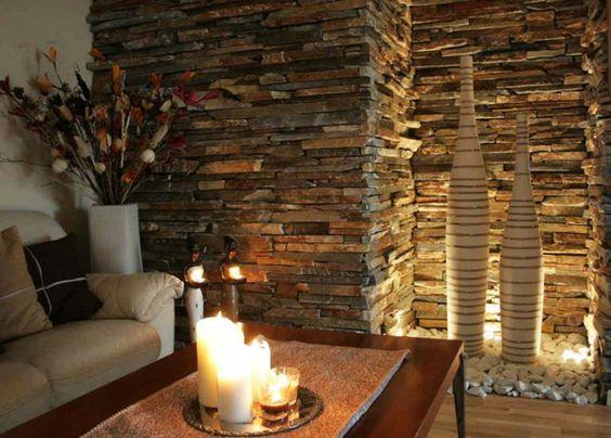 Wohnzimmer Steinwand Beleuchtungsteinwand Innen Dekoideen