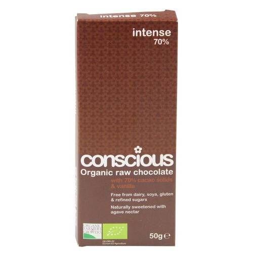 Conscious Chocolate Intense 70% Raw Chocolate 50g